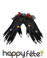 Gants noirs Dia de los muertos ongles argentés