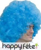 Grosse perruque afro bleu