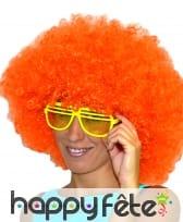 Grosse perruque afro orange