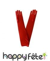 Gants plissés rouges satinés, image 1
