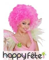 Grosse perruque rose fluo pour femme