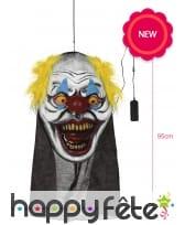 Grande tête de clown de Halloween lumineuse, 95cm, image 1