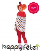 Haut blanc et coloré de clown avec chapeau, image 1