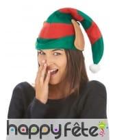 Haut bonnet vert rouge de lutin avec oreilles, image 1