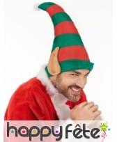 Haut bonnet vert rouge de lutin avec oreilles, image 2