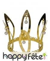 Haute couronne dorée avec perles blanches, adulte