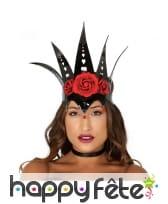 Haute couronne noire vinyle avec roses rouges