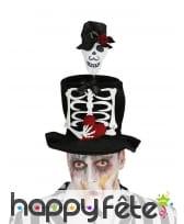 Haut de forme Dia de los Muertos marié squelette