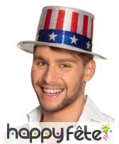 Haut de forme drapeau USA pailleté pour adulte