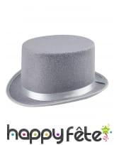 Haut de forme gris avec ruban satiné pour adulte, image 1