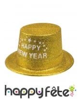 Haut de forme Happy new year doré pailleté, adulte, image 1