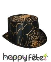 Haut de forme noir motif toile dorée