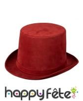 Haut de forme rouge bordeaux pour adulte, luxe, image 1