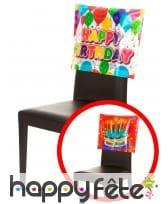 Housse Happy Birthday de chaise, 38 x 48 cm