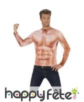 Haut imprimé de faux muscles, réaliste