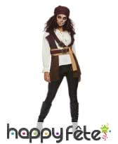 Haut marron blanc de femme pirate avec bandeau, image 1