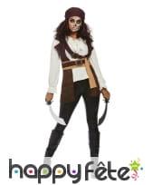 Haut marron blanc de femme pirate avec bandeau