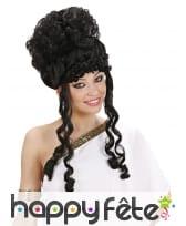 Haute perruque noire bouclée de déesse