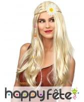 Headband tressé avec une fleur blanche pour adulte