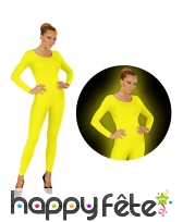 Justaucorps jaune fluo pour femme