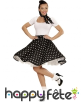 Jupe noire à pois blancs avec foulard, image 1