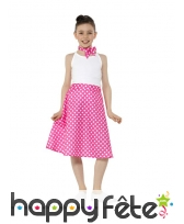 Jupe rose à pois années 50 pour enfant et foulard