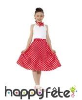 Jupe rouge à pois années 50 pour enfant et foulard