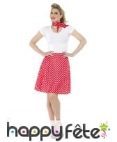 Jupe rouge à pois années 50 pour femme et foulard