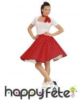Jupe rouge à pois avec foulard, années 50, image 1