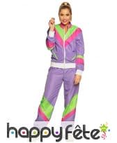 Jogging rétro violet années 80 pour femme