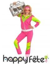 Jogging rose vert années 80 pour femme