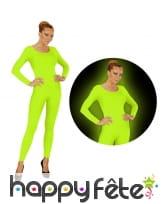 Justaucorps vert fluo pour femme