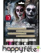 Kit de maquillage squelette néon, réagit aux UV, image 14