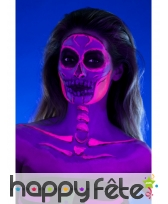 Kit de maquillage squelette néon, réagit aux UV, image 6