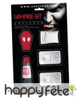 Kit dents, sang et lentilles de vampire pour adulte