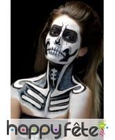 Kit maquillage de squelette noir et blanc au latex, image 12