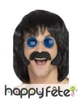 Kit moustache et rouflaquettes noires de hippie