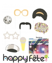 Kit photobooth style année 80 disco 9 pièces