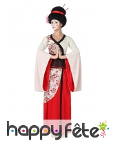 Kimono rouge blanc de geisha pour femme