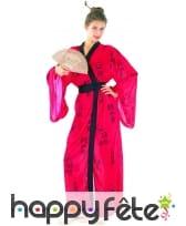 Kimono rouge de geisha imprimés calligraphie, image 3