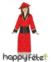 Kimono rouge et noir pour fille
