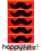 Lot 6 moustaches noires adhésives de 9cm