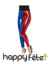 Legging arlequin bleu et rouge effet métallique