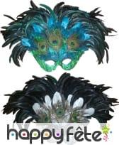 Loup à plumes pailletté bleu/vert ou argent/noir