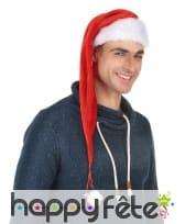 Long bonnet de Noël rouge effet velours, image 1