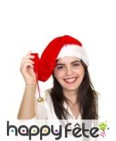 Long bonnet de Noël rouge effet velours, image 2