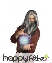 Longue barbe et perruque grise de magicien, homme