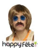 Lunettes bleues, moustache et perruque marron