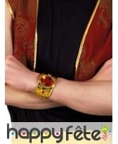 Large bracelet orientale doré avec gemme rouge, image 1