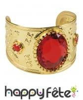 Large bracelet orientale doré avec gemme rouge